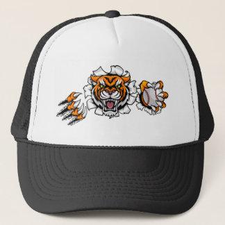 Tiger Holding Baseball Ball Breaking Background Trucker Hat