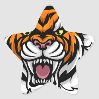 Tiger Holding Bowling Ball Breaking Background Star Sticker