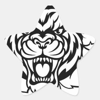 Tiger Holding Cricket Ball Breaking Background Star Sticker