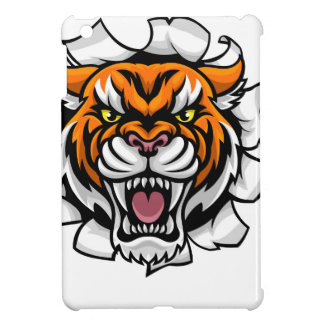 Tiger Holding Soccer Ball Breaking Background iPad Mini Cover