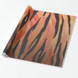 Tiger Hot orange and Black Print Gift Wrap Paper