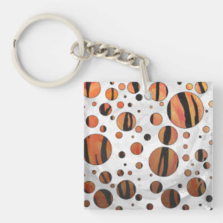 Tiger Hot orange and Black Print Acrylic Key Chain