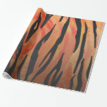 Tiger Hot orange and Black Print Wrapping Paper