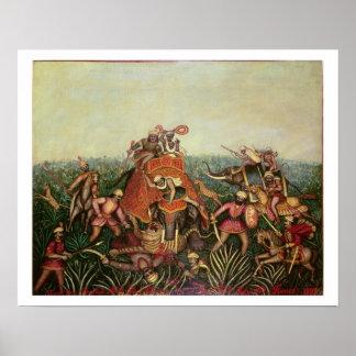 Tiger Hunt, 1892 (oil on canvas) Poster