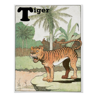 Tiger in a Tropical Jungle Poster