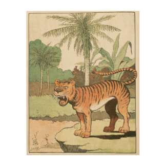 Tiger in a Tropical Jungle Wood Wall Decor