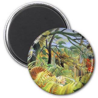 Tiger in a Tropical Storm 2 Inch Round Magnet