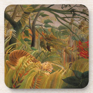 Tiger in a Tropical Storm by Henri Rousseau Beverage Coaster