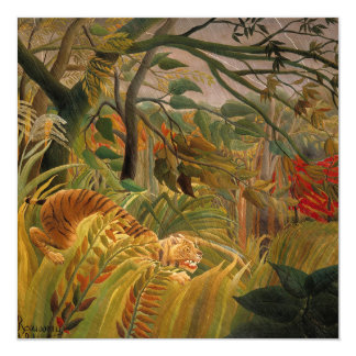 Tiger in a Tropical Storm by Henri Rousseau Card