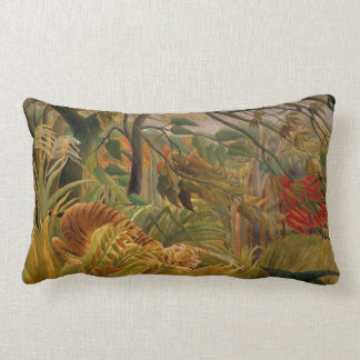 Tiger in a Tropical Storm by Henri Rousseau Lumbar Pillow