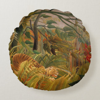 Tiger in a Tropical Storm by Henri Rousseau Round Pillow