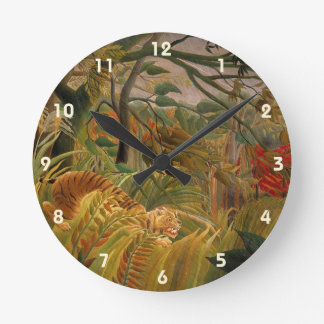 Tiger in a Tropical Storm by Henri Rousseau Round Clock