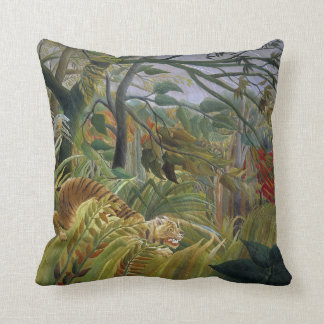 Tiger in a Tropical Storm by Henri Rousseau Throw Pillow