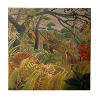 Tiger in a Tropical Storm by Henri Rousseau Tile