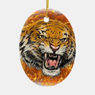 tiger in flame ceramic ornament