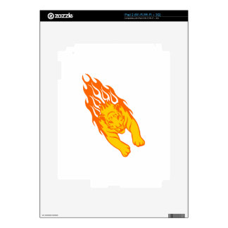 Tiger in Flames Decals For The iPad 2