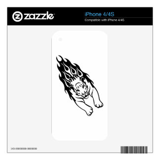 Tiger in Flames iPhone 4S Skin