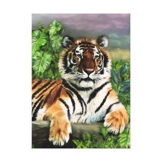 Tiger in jungle greenery canvas print