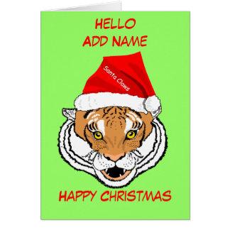 Tiger in Santa Hat customize Christmas Card