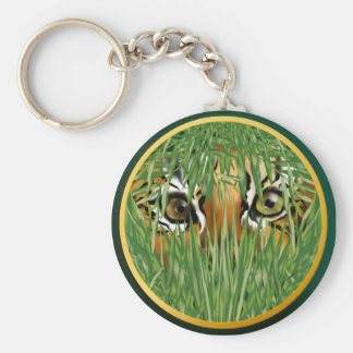 Tiger In The Grass Keychain