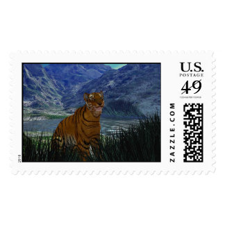 Tiger In The Grass Stamps