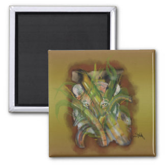 Tiger in the Jungle Peaking through Bamboo 2 Inch Square Magnet