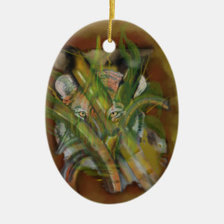 Tiger in the Jungle Peaking through Bamboo Ceramic Ornament