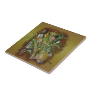 Tiger in the Jungle Peaking through Bamboo Ceramic Tile