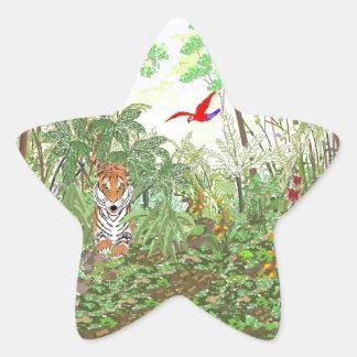 Tiger in the Rainforest Star Sticker