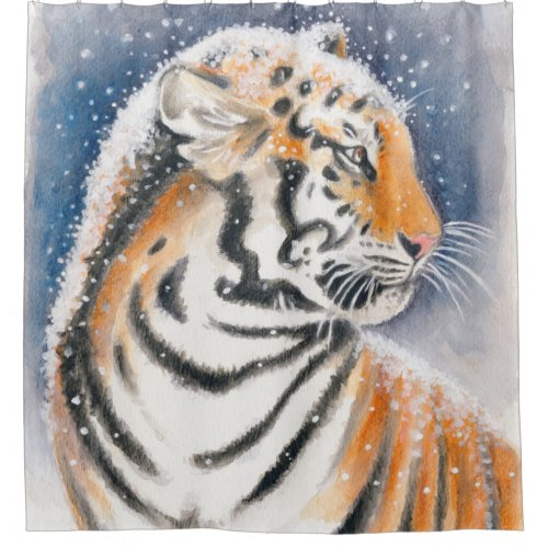 Tiger In The Snow Shower Curtain