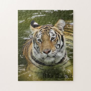 Hawaiian Themed Tiger in the Water Jigsaw Puzzle