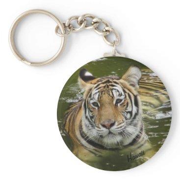 Hawaiian Themed Tiger in the Water Keychain