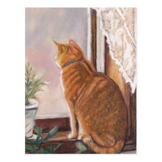 Tiger in the Window Cat Art Postcard