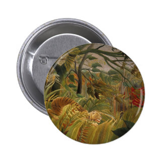 Tiger in tropical storm pinback buttons