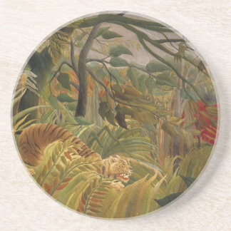 Tiger in tropical storm beverage coasters