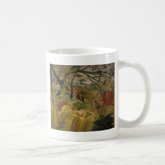 Tiger in tropical storm coffee mug