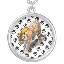 TIGER IN YOUR DIRECTION SILVER PLATED NECKLACE