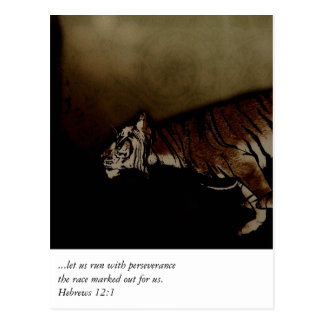 Tiger Inspirational Encouragment to Run the Race! Postcard