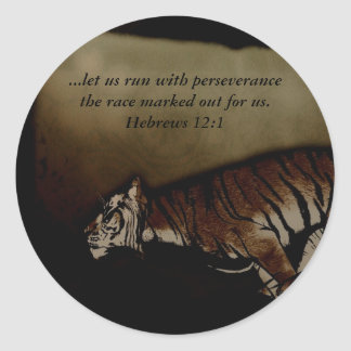 Tiger Inspirational Encouragment to Run the Race! Classic Round Sticker
