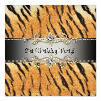 "Tiger Jewel 21st Birthday Invitation Tiger 21 5.25"" Square Invitation Card"