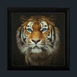 """Tiger Jewelry Box<br><div class=""""desc"""">Tiger Display your favorite images on a vibrant tile inlaid into the lid of this beautiful jewelry box. Made of lacquered wood, the jewelry box comes in Golden Oak, Ebony Black, Emerald Green, and Red Mahogany. Soft felt protects your jewelry and collectibles. Box Diameter: 7.125 inches Box Height: 2.5 inches...</div>"""