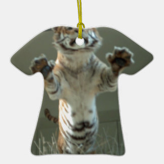 Tiger jumps at you Press Paws Christmas Ornament