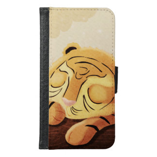 "Tiger Jungle Art ""Sleepy Face"" Samsung Galaxy S6 Wallet Case"