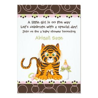 Tiger Jungle Baby Shower Invitation for Girls