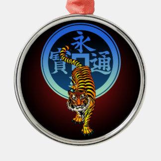 Tiger Kamon 01 Round Metal Christmas Ornament