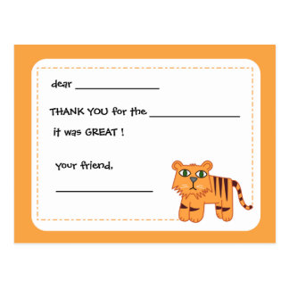Tiger -Kids thank you card