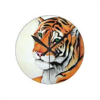 Tiger - Kimberly Turnbull Art (W/C Pencils) Round Clock
