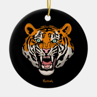 Tiger Kitteh Double-Sided Ceramic Round Christmas Ornament
