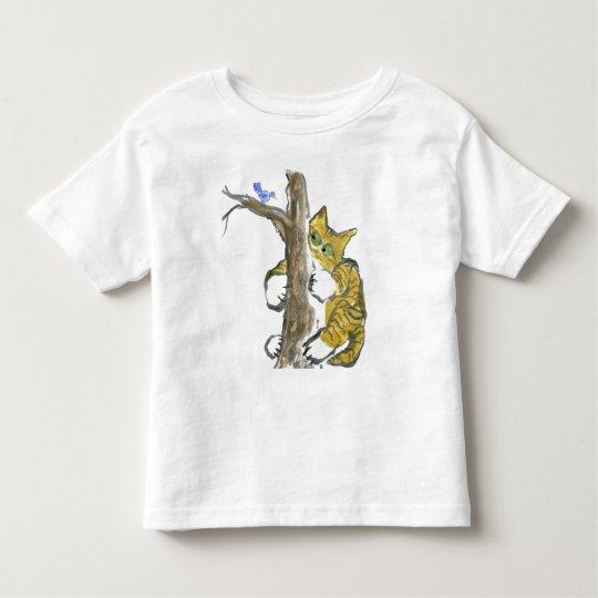Tiger Kitten Climbs Tree Chasing a Bird Toddler T-shirt