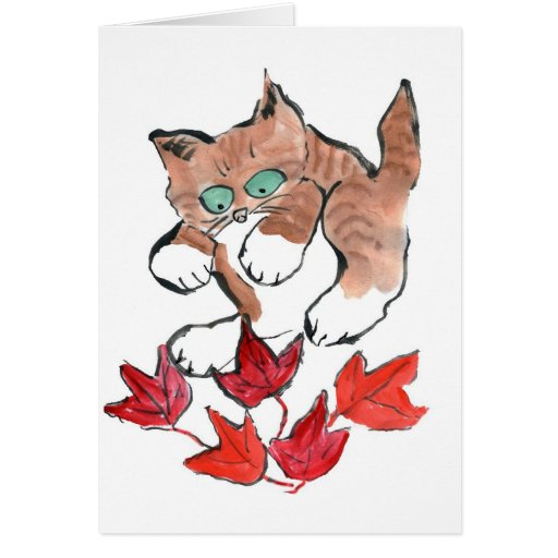 Tiger Kitten is about to Pounce on 5 Maple Leaves Cards